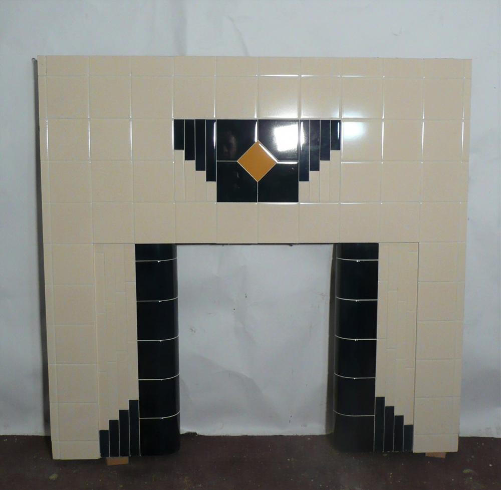 Art Deco Tiled Fireplace Insert in Ivory and Midnight blue tiles