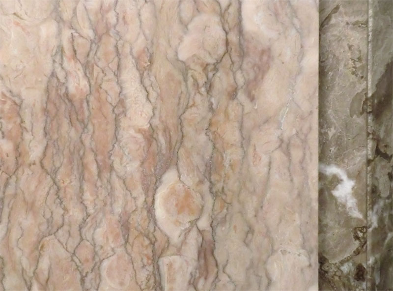 brown marble fireplace detail