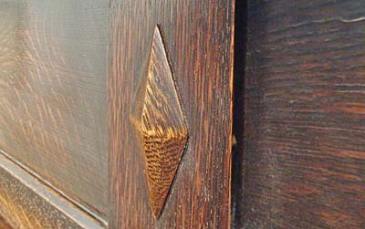 Arts and Crafts inspired Oak Mantel detail