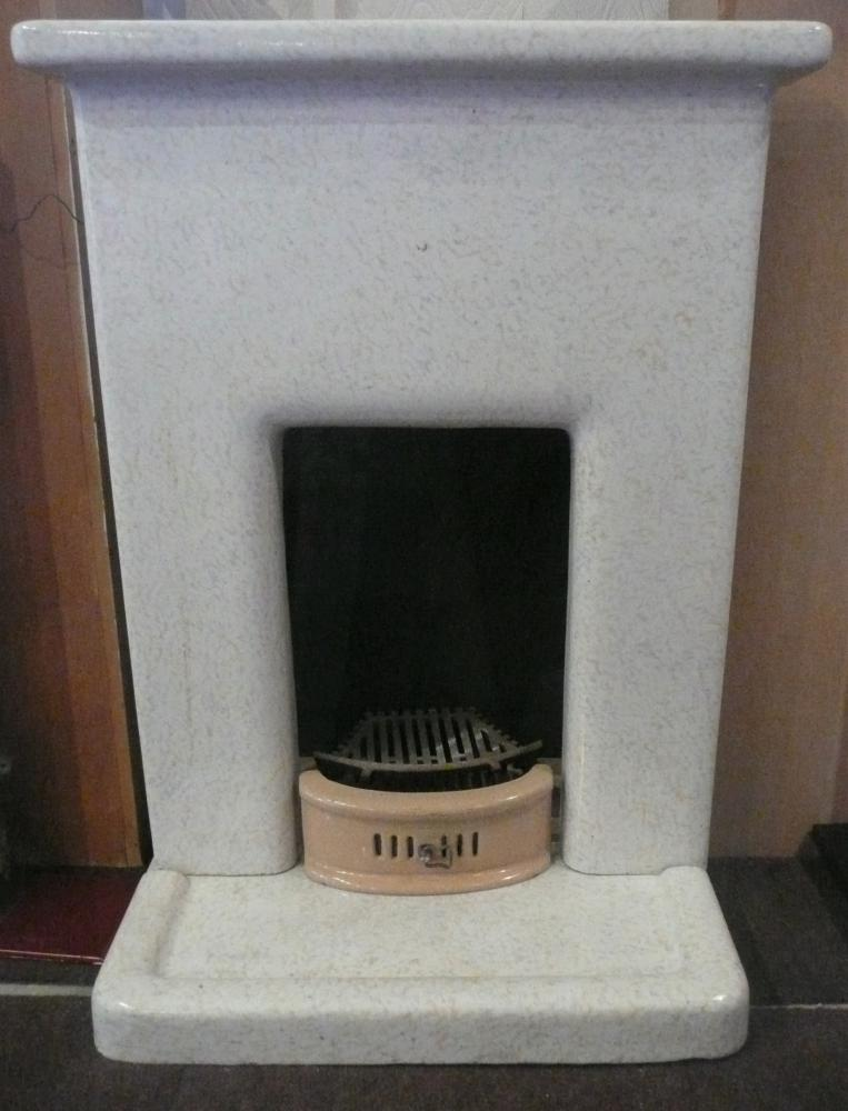 Original 1930's Glazed Faience block bedroom fireplace with hearth