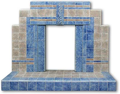 1920s Art Deco Stepped All Tiled Fireplace