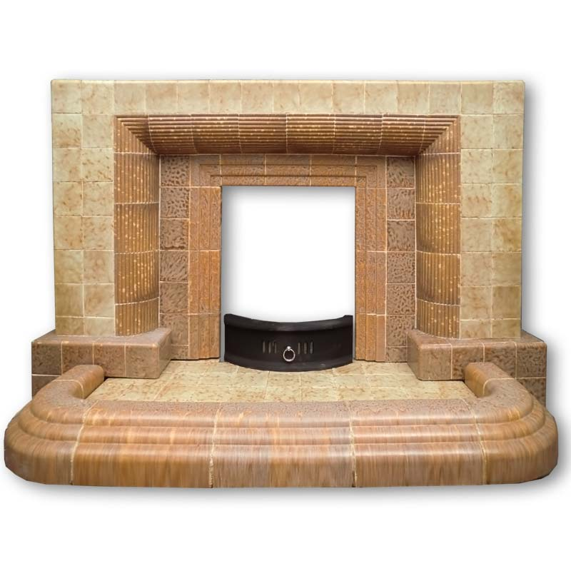 1950s Tiled Fireplace With Hearth And Integral Fender