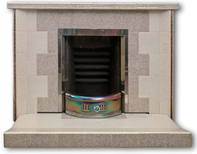 1960s 1970s Tiled Fireplace With Gold Lustre Detail