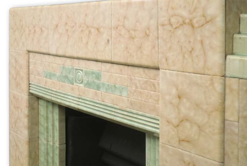 A 1930s Art Deco Tiled Fireplace With Mottled Green