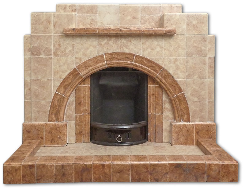 All tiled fireplace frontal view