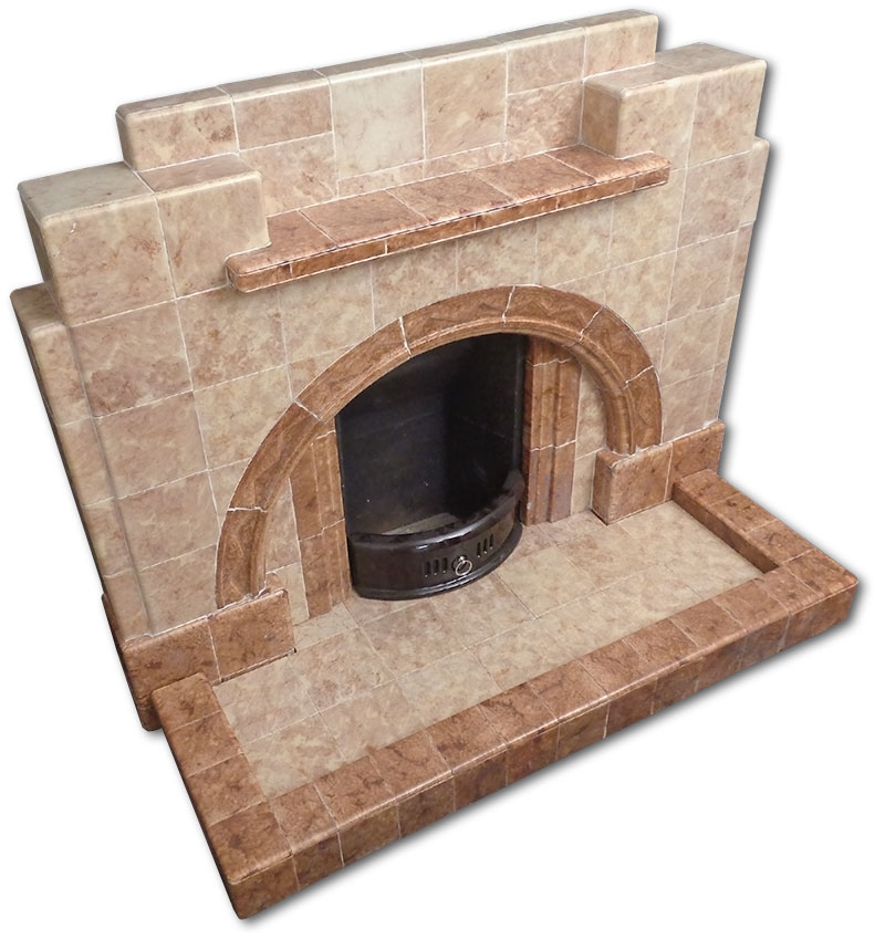 All tiled fireplace angled view