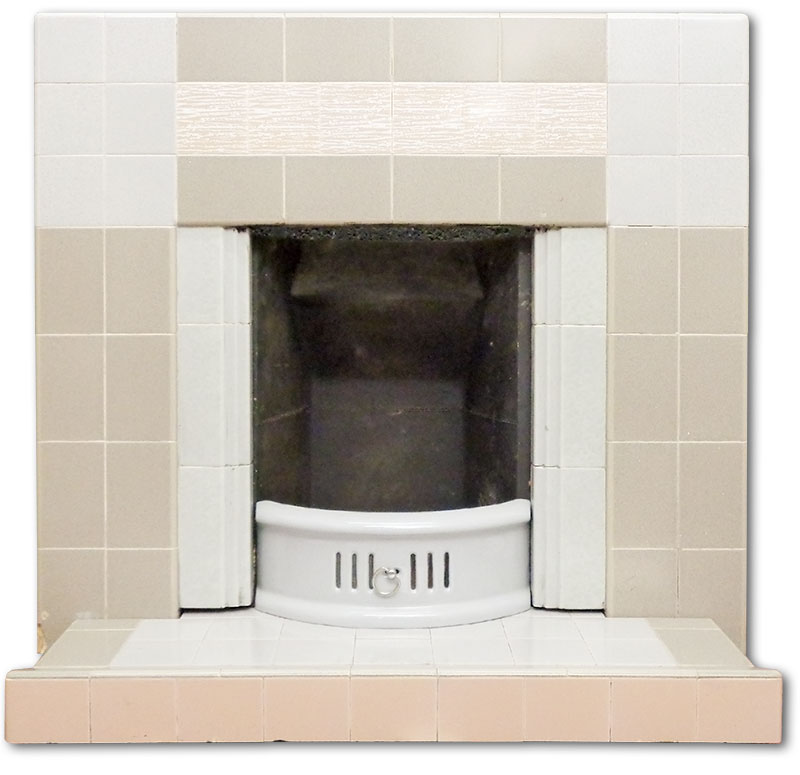 1950's all tiled fireplace
