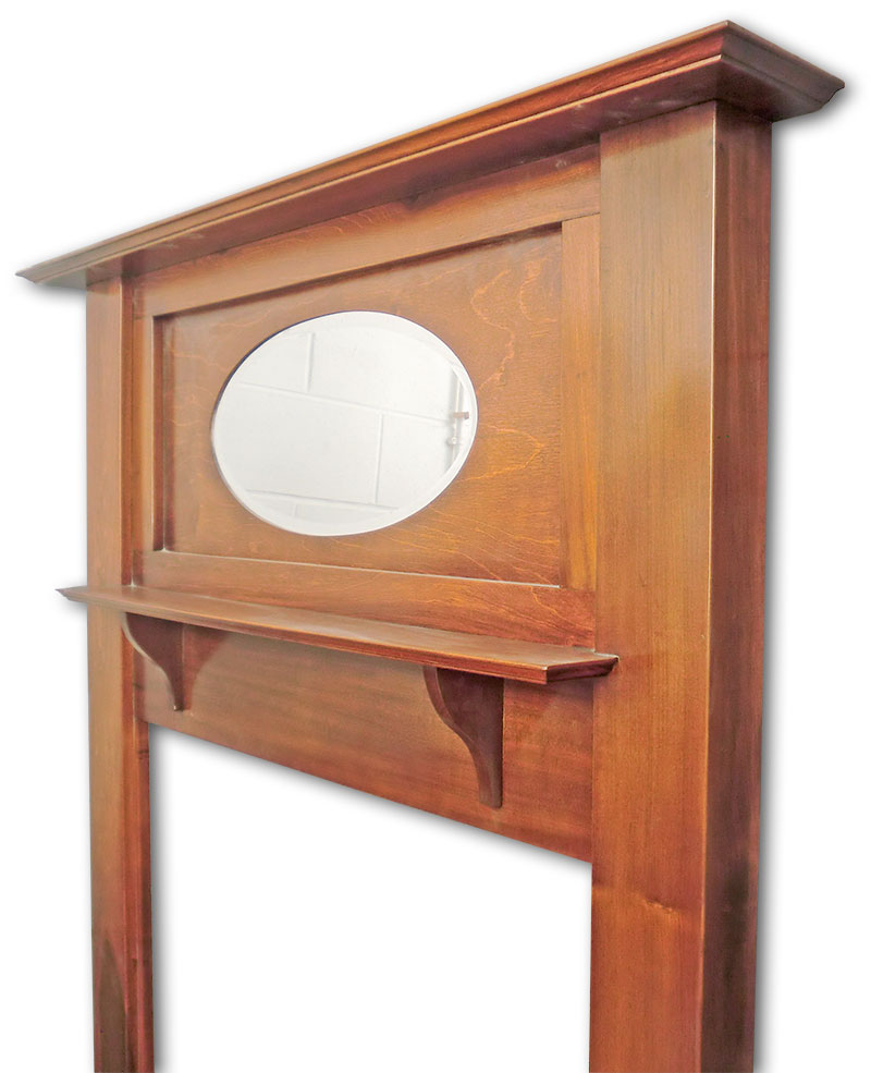Oval mirror, central and top shelves