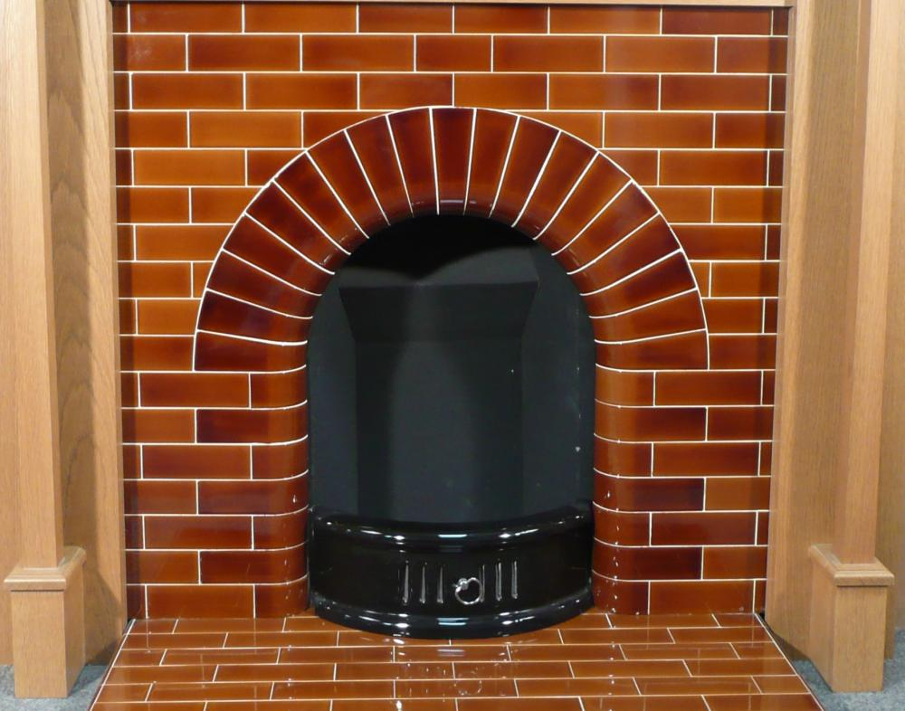 Edwardian tiled Arch Insert and Hearth in Victorian Brown 6 inch x 2 inch tiles