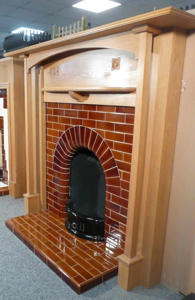 Morris Oak mantel, Edwardian tiled Arch Insert and Hearth in Victorian Brown tiles
