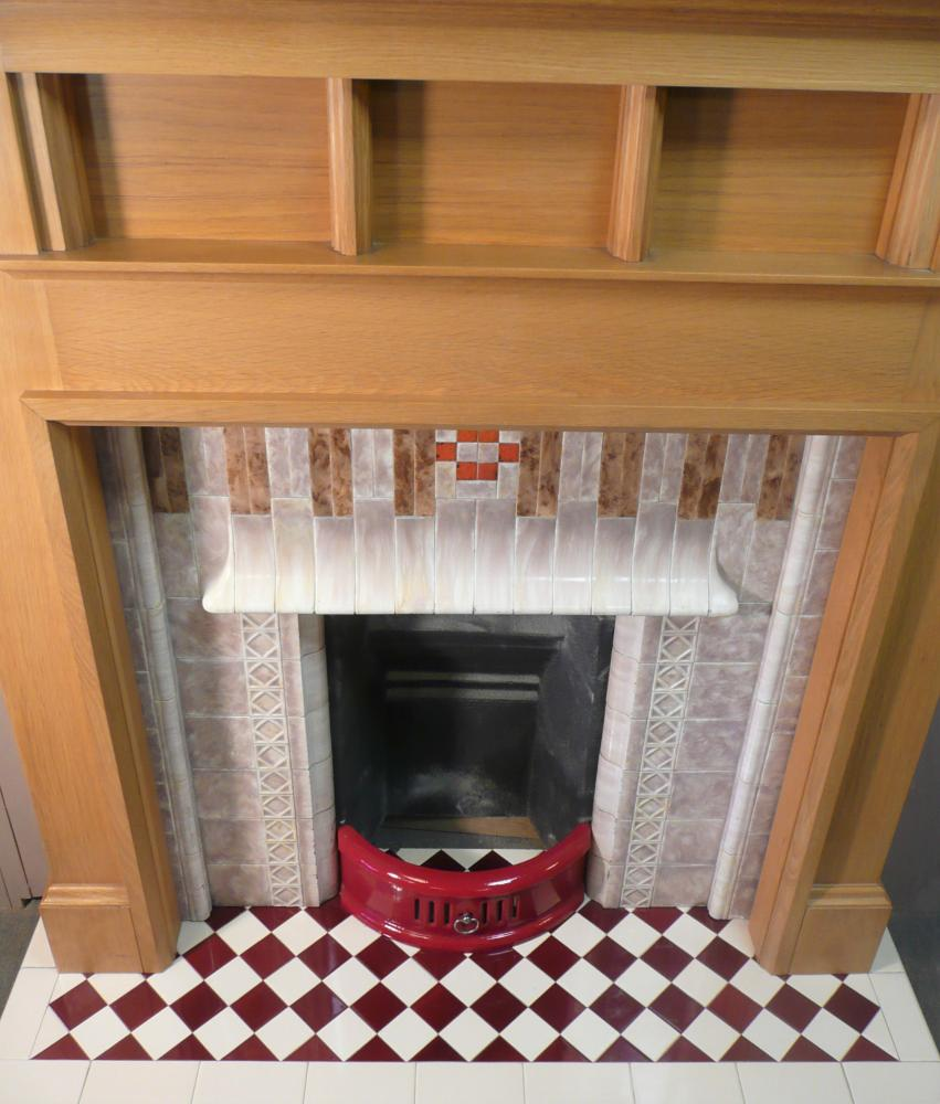 The Harlequin hearth in Ivory and Burgundy