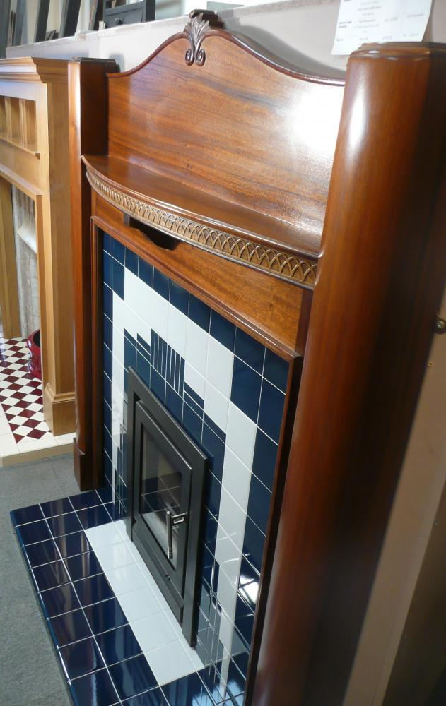 The Manhattan Insert, Hearth in Midnight Blue and Ivory tiles