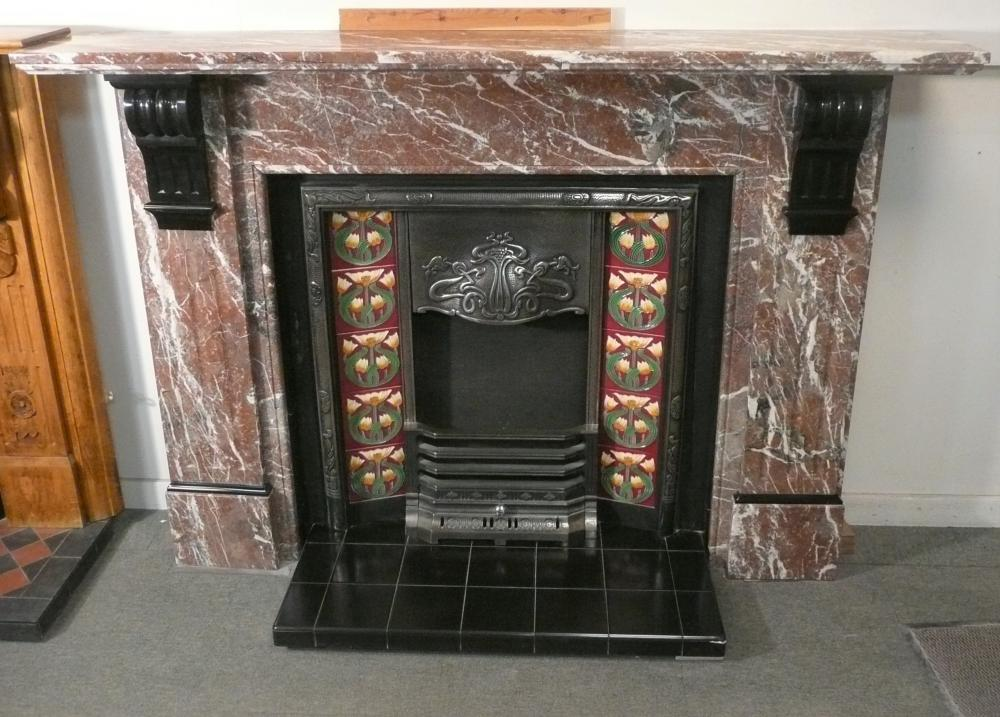 Original 1890's Rouge Marble Mantel with Cast Iron Insert and Hearth