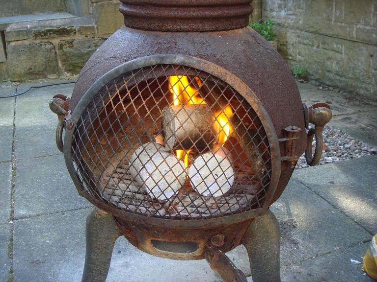 Fitch Briquettes burning in chiminea