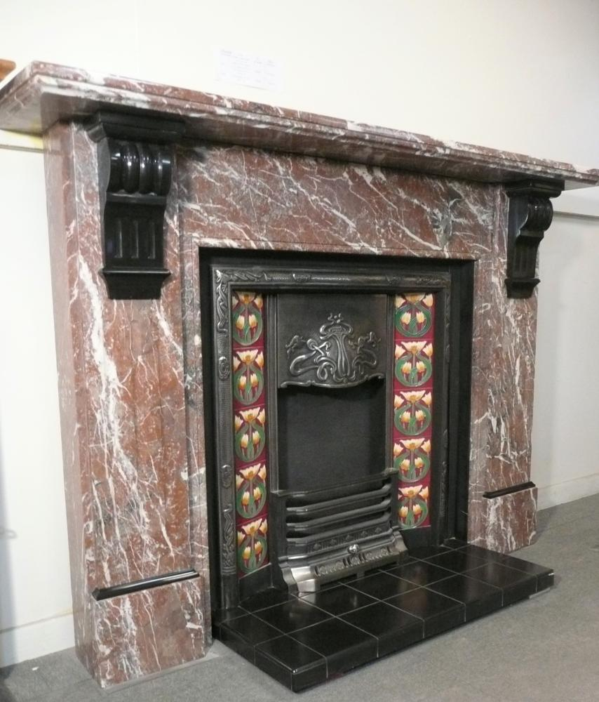 Original Marble Mantel with Cast Iron Insert and Hearth