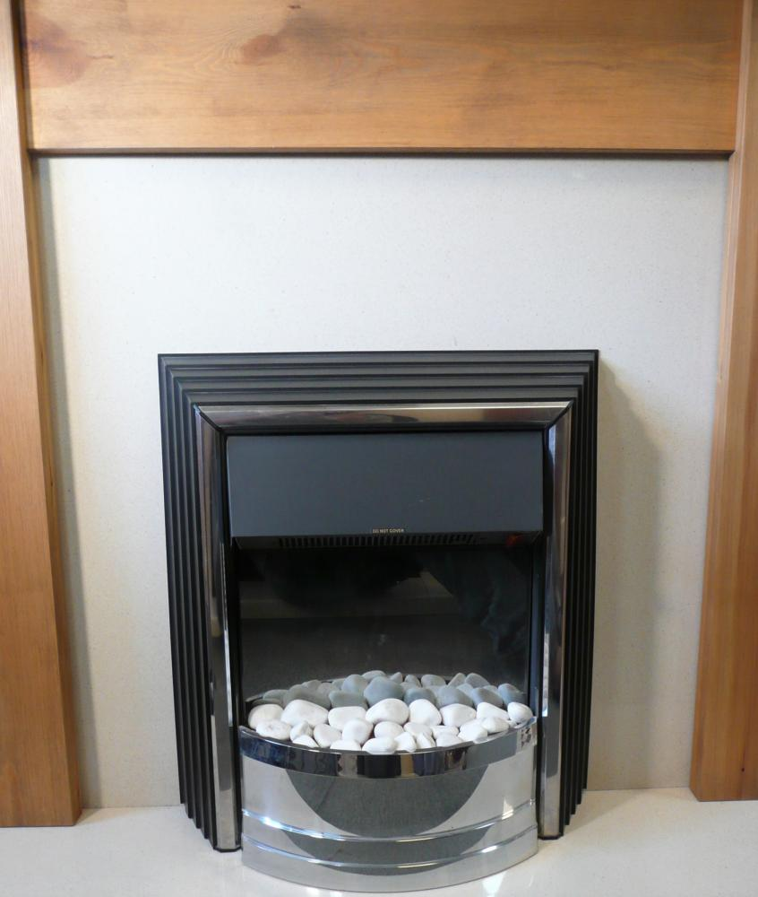Pine Mantel with Back Panel and Hearth set