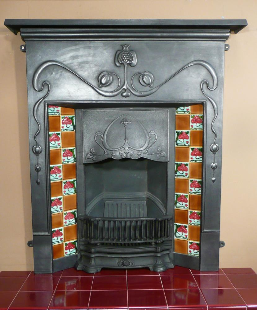 Valentine is a reproduction complete cast iron fireplace