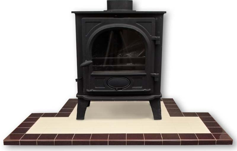 Hearth in 4 inch Ivory with Teapot Brown border