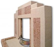 Angled view of F698 all tiled fireplace