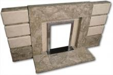 1950s marble fireplace high angle