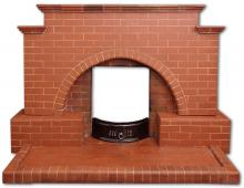 Brick fireplace front view
