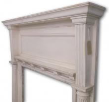 Arts and crafts pine mantel dated 1905