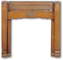 Arts and Crafts inspired mantel in oak